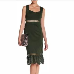 ROME + JULIET COUTURE OLIVE GREEN DRESS M NWT